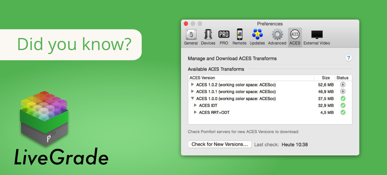How to Manage ACES Versions in LiveGrade Pro