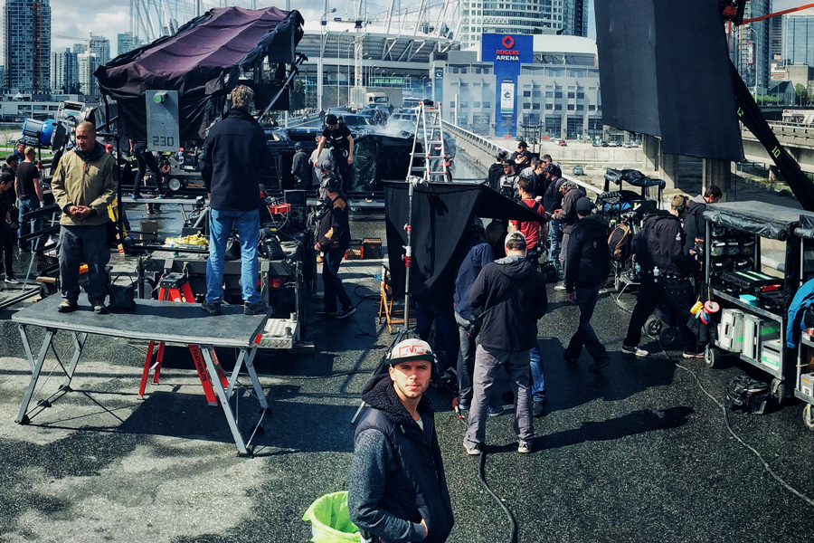 """DIT Mitch Bax on the set of """"Deadpool""""."""