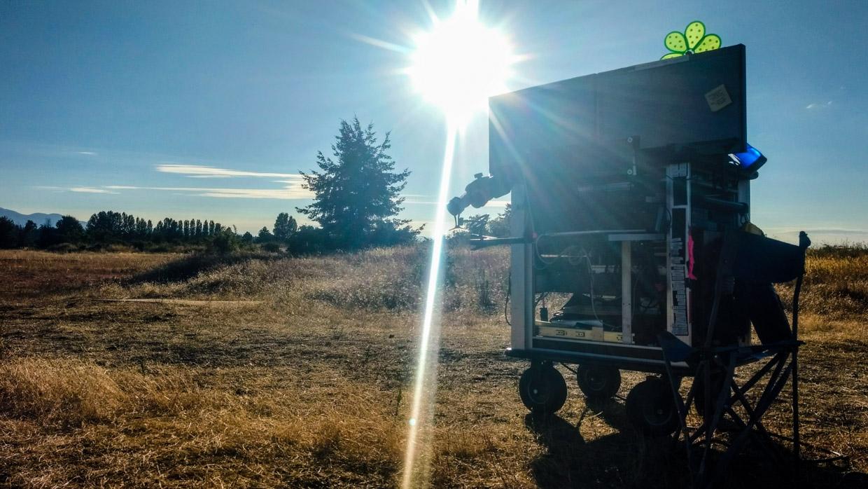 Frank Devine's DIT cart outside.