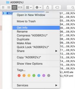 How to open the Get Info panel for a folder in Finder.
