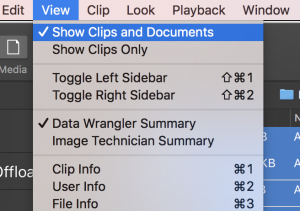 Show Clips and Documents in the Silverstack library.