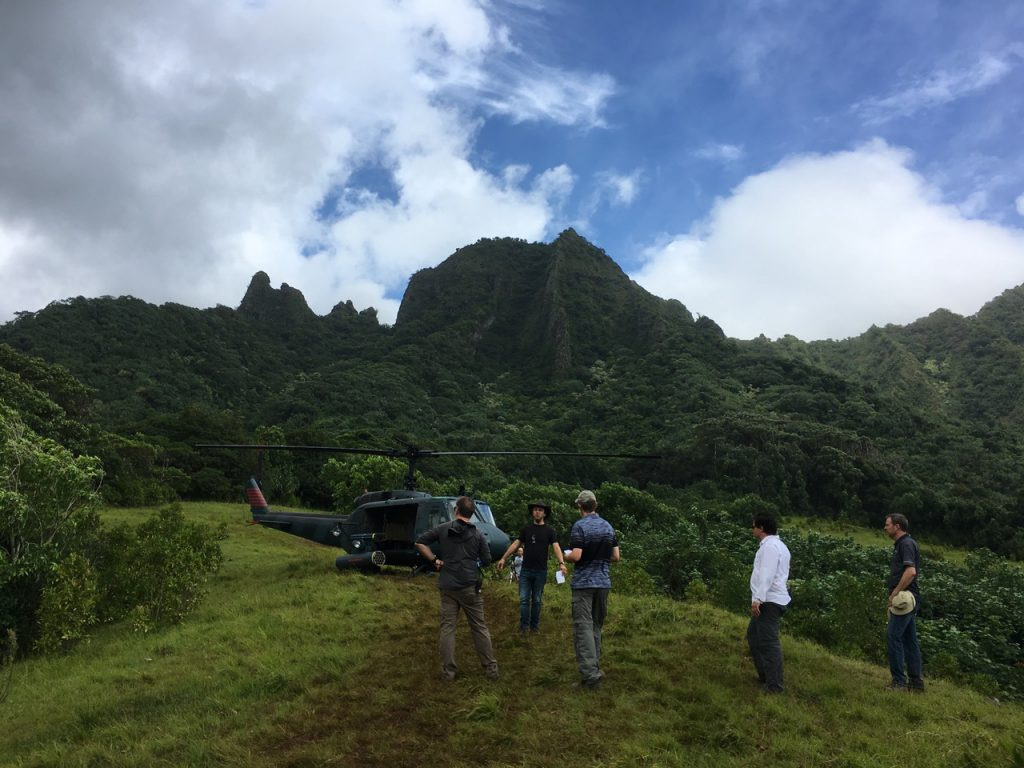 The crew getting into the jungle via helicopter.