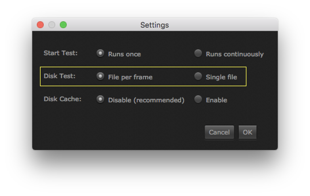 "Select ""Settings"" in the left bar to be able to set the test to file per frame or single file."